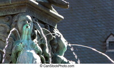 Fountain and Ancient Statue