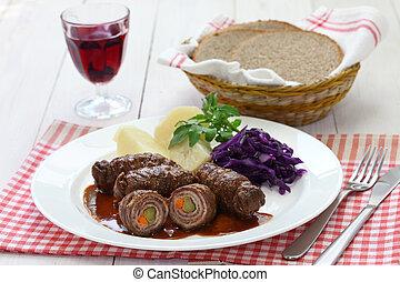 rinderrouladen, german beef roll - rinderrouladen, beef...