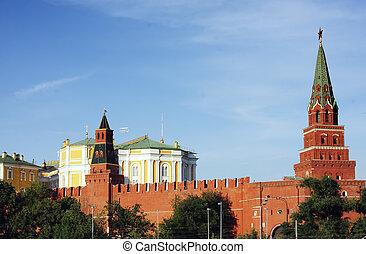 Borovitskaya and Armoury towers of Moscow Kremlin