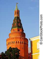 Corner Arsenal Tower of Moscow Kremlin over blue sky