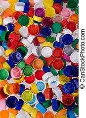 plastic bottle caps - a lot of plastic bottle caps