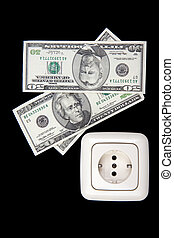 electric plug and money - electric plug and american money