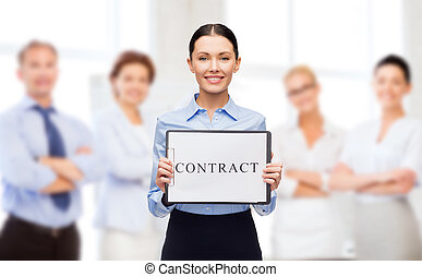 smiling businesswoman with contract - business, people,...