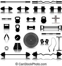 Sports equipment, vector illustrati - Set of silhouettes of...