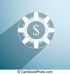 poker chip icon vector - poker chip icon with long shadow...