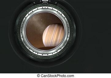 saturno, o, extranjero, planeta, vista, De, Nave espacial,