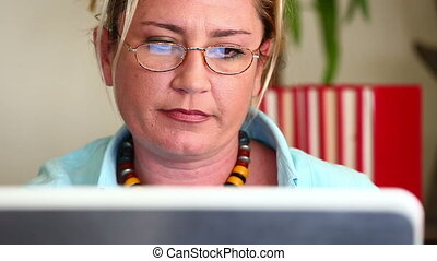 Business Woman Working - Close Up Attractive Middle Age...