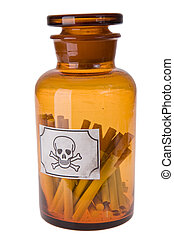 cigarettes in bottle of poison on white background