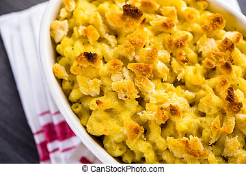 Macaroni and cheese - Baked macaroni and cheese with bread...