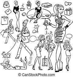 Fashion and Beauty hand drawn collection.