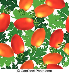 Cherry tomato seamless vector background. Template for your...