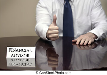 Financial Advisor Holding thumbs up Sign - Financial advisor...