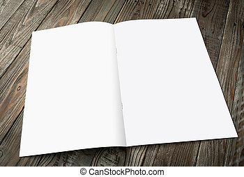 Blank catalog, magazines,book mock up on wood background (...