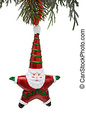 Santa Ornament - A santa ornament hanging from a tree...