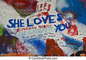 Lennon wall - detail of the Lennon wall in Prague