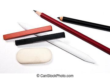 不同, 藝術, 郵票, 粉筆,  s, 鉛筆,  tools:, 種類, 橡皮擦