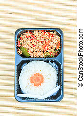 Basil Fried Rice with pork - Thailand Food