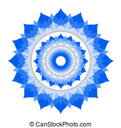 abstract blue mandala of Vishuddha chakra vector on white