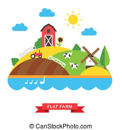 farm countryside vector background on white background