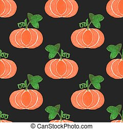 Seamless watercolor pattern with funny pumpkins on the black...