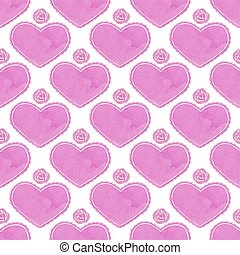 Watercolor seamless pattern with victorian heart and...