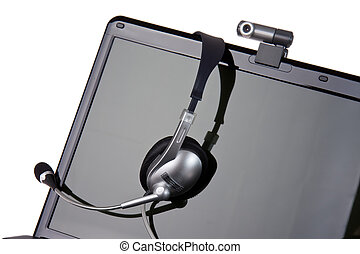 laptop with headset and webcam - black laptop with headset...