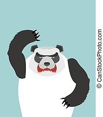 Angry Panda bear. Vector illustration