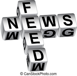 news feed dice message isolated on a white background