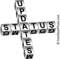 status update dice message isolated on a white background.
