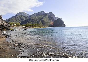 Black sand beach paradise in La Aldea, Gran Canaria, Canary...