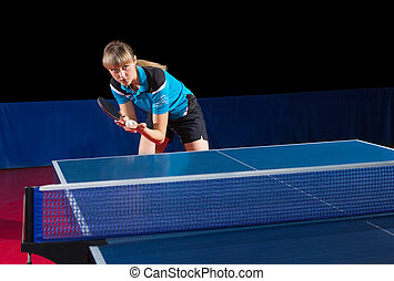 Young girl table tennis player
