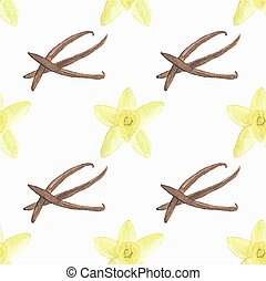 Seamless watercolor pattern with vanilla flower and stick on the white background, aquarelle.  Vector illustration. Hand-drawn background.