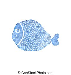 Doodle watercolor fish on the white background, aquarelle. Vector illustration.
