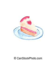 Slice or piece of birthday cake. Watercolor object on the white background, aquarelle. Vector illustration.