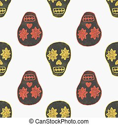 Seamless watercolor pattern with skary sugar skulls on the...