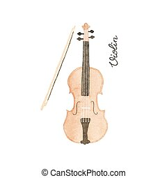 Watercolor violin on the white background, aquarelle. Vector illustration. Hand-drawn decorative element useful for invitations, scrapbooking, design.