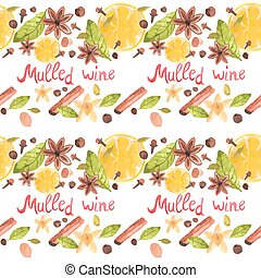 Seamless watercolor pattern with spices on the white background, aquarelle.  Vector illustration.