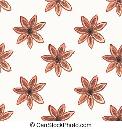 Seamless watercolor pattern with star anise on the white...