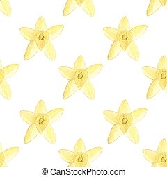 Seamless watercolor pattern with vanilla flower on the white background, aquarelle.  Vector illustration. Hand-drawn background.