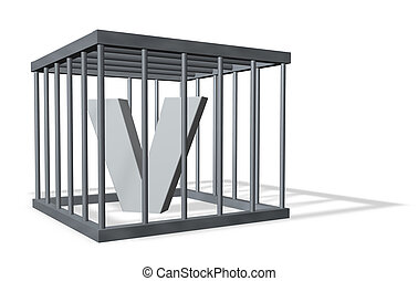 big V in a cage - uppercase letter V in a cage on white...