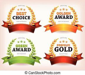 Awards Palms, Laurel Leaves - Illustration of a set of...