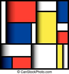 3D Mondrian - Geometric design in primary colours, with...