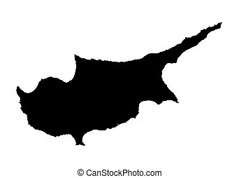 black map of Cyprus