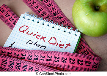 Notepad with Quick Diet and measuring tape.