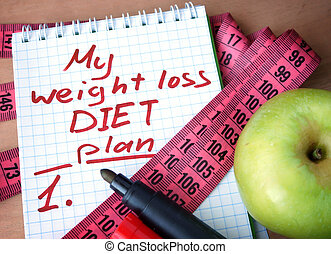 Notepad with weight loss diet plan and measuring tape