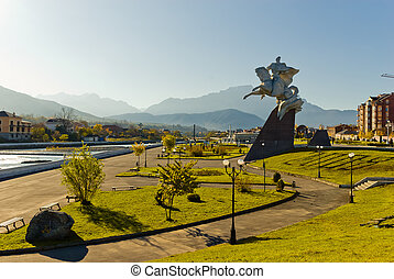 Vladikavkaz, North Ossetia - Statue of the general Pliyev...