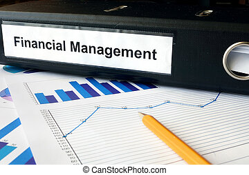 Financial Management - Graphs and file folder with label...