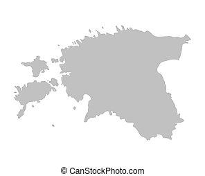 grey map of Estonia