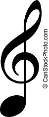 clef as note - black clef as note on white background