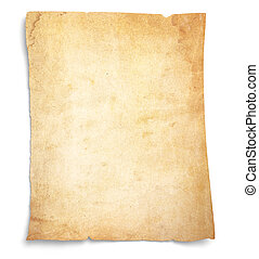 Very Old, Stained Blank Paper - Aging, worn paper with rough...